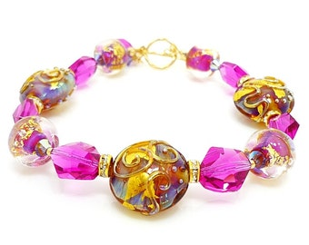 Pink Bracelet, Lampwork Bracelet, Glass Bracelet, Glass Bead Bracelet, Beaded Bracelet, Glass Bead Jewelry, Gold Filled Bracelet