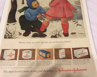 1957 johnson and Johnson bandages first aid ad