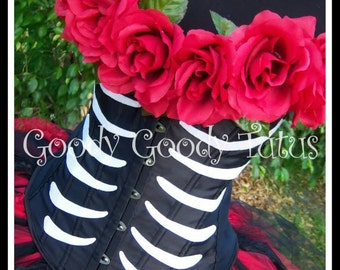 SUGAR SKULL QUEEN Day of the Dead Inspired Tutu and Corset Adult Costume with Top Hat - S-xxl