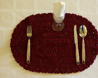 Acrylic Hand-Crocheted Oval Placemats Doilies Table Mats Handmade Lunch Mats Dinner Mats CLARET FLECK