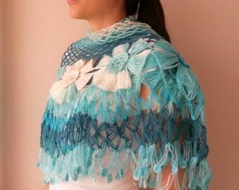 Crocheted Shawl, Dahlia Flower Shawl, Triangle Shawl, Floral Fantasy, Spring Accessory, Aqua Blue