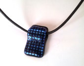Necklace, Leather chain, Fusing Glass, Pendant for Women, Night, Jewelry, Women Gift, Glass jewelry, Blue,Brilliant, Decroic Glass,