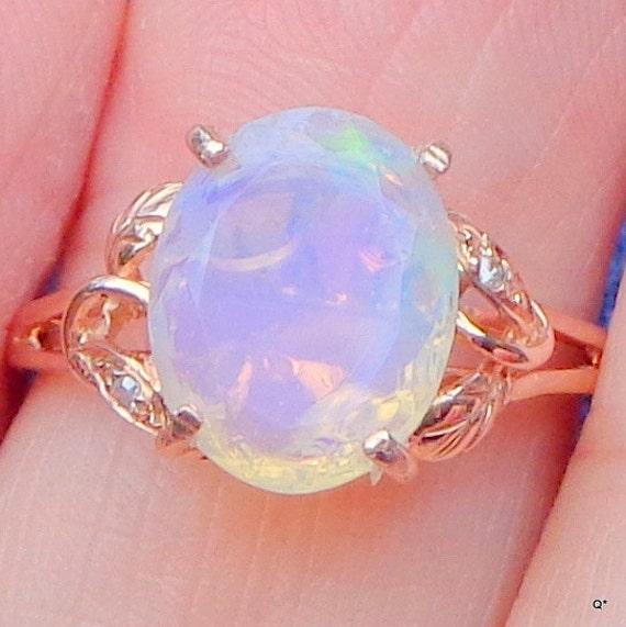 Sz 6 5 Solid 14k Rose Gold Ring Ethiopian Welo Opal Ring