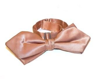 Vintage 1950s Mocha Brown Sharkskin Bow Tie Adjustable