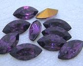10x5 Swarovski Purple Amethyst Glass Rhinestone Navette Qty 10