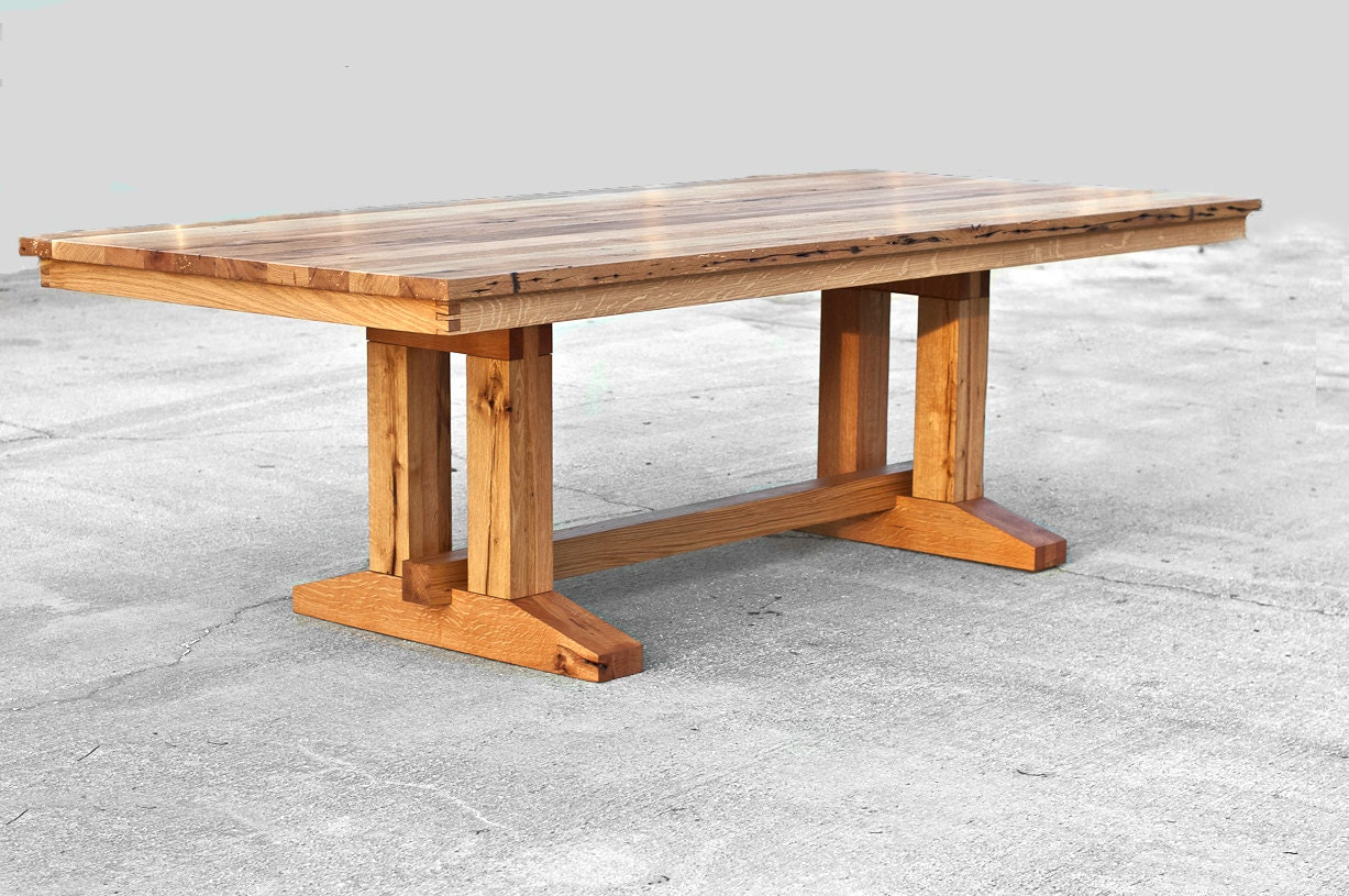 Barnwood trestle dining table reclaimed wood dining table for Unique wood dining room tables