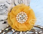 New: Reilly 2 pcs DAFFODIL YELLOW Soft Chiffon Ruffled Rhinestones Pearls Fabric Flowers - Layered Bouquet fabric flowers. Wedding Bridal