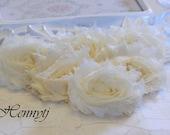 Set of 6 - IVORY Shabby Frayed Vintage look Chiffon Rosette Flowers. DIY SUpplies. Soft Chiffon Flwoers.