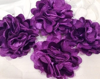 4 pcs - New Tiny Size Petite Satin and Tulle Puff Mesh Flowers without hair clip brooch flowers - PLUM / Eggplant
