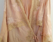 Vintage  Salmon Pink with Beige Lace Trim Fancy Gown/Robe