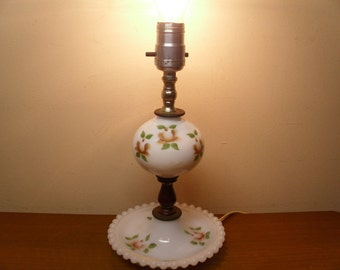 Vintage  1940's  Milk Glass Lamp w/Hand Painted Flowers