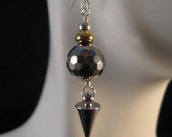 Platinum Hematite dangle earrings,drop earrings,gemstone earrings, silver earrings, gemstone jewelry, spike earrings; dangle earrings