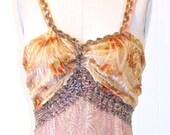1930s Dress, Art Deco Bohemian Wedding Dress, 30s Burnout Velvet Party Dress, M - L