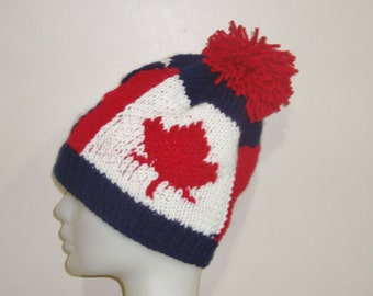 Custom long distance boyfriend gift England Flag and Canadian Flag Beanie Hat Hand Knit Custom knit England, Canadian Gift idea OAK