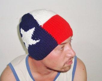Texas Flag Hat, Texas Gift for Boyfriend Gift Handmade Hand Knitted
