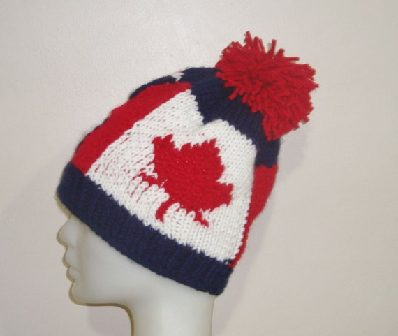 Knitting Pattern For Union Jack Hat : Canadian Flag & Union Jack Beanie Hat for Womens by earflaphats