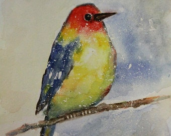 Original Watercolor Painting- Snowy Day- GREAT GIFT- 6x8
