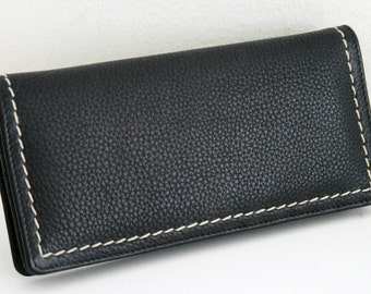 Genuine Soft Pebble Leather Wallet, CLUTCH with Contrast Stitches, RARE