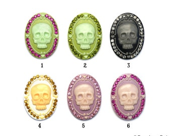 SKULL Cameo with Czech Preciosa Crystals Rockabilly Goth Gothic 32mm x 44mm 6 Colors