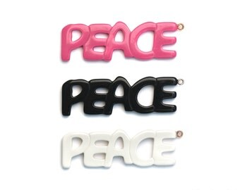 Resin Pendant PEACE Retro Hippy 60's Chic 68mm x22mm Hot Pink Black White