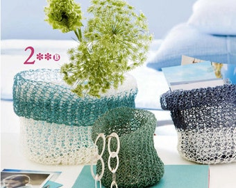 DIY Kit: Knit Baskets Medium - Paper Twine - personalize and choose your colors - easy and fun - no knitting skills required