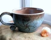 IMAGINE Oversized Coffee Mug Crop Circle Soup Mug Sacred Geometry Coffee House Handmade Pottery Rustic Earthy green brown