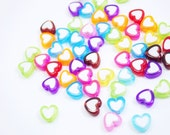 50 Pcs Mixed Colors Heart Beads
