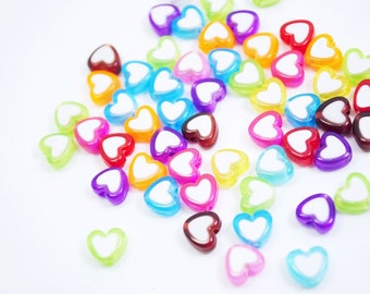 50 Pcs Mixed Colors Heart Beads