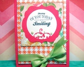 Thinking of You Today Smiling Bright Orange and Pink Handmade Card