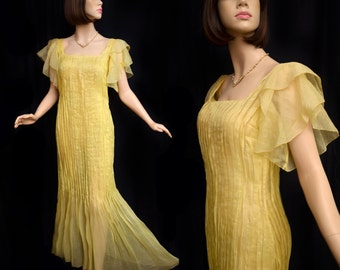 Vintage 30s Dress // 1930s Maize Yellow Pleated Dress with Flutter Sleeves