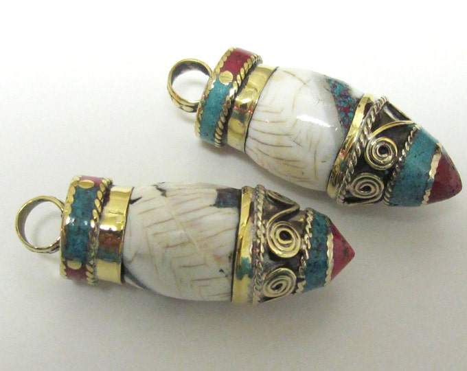 Ethnic tibetan naga conch shell point bullet shape brass capped pendant  with turquoise coral inlay - PM242