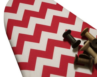 PADDED Ironing Board Cover with ELASTIC around EDGES made with Riley Blake vertical chevron red and white