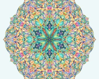 "16x16 ""Snowflake"" hand drawn mandala print on canvas sacred geometry"