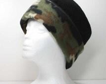 Girls / Ladies Camo Print Brim and Black Pillbox Fleece Hats Warm Hat Winter Hats Womans Fleece Hats Kids Fleece Hats Womens Pillbox Hats