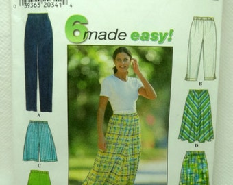 Simplicity 7655, Misses' Pants, Shorts and Skirt Pattern, Sewing Pattern, Easy, Misses, Plus Size L, XL - Uncut