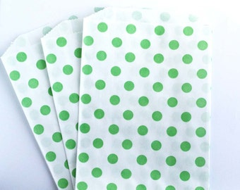 Green Polka Dot Favor Bags (20) - Birthday Party Grab Bags - Green Party Supply