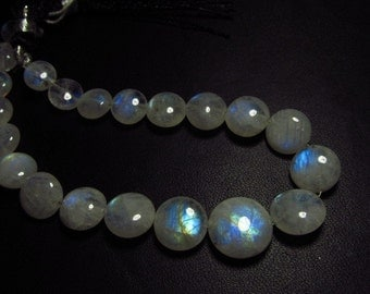 AA - High Quality Gorgeous - RAINBOW MOONSTONE - Smooth Polished Coin Briolettes Nice Flashy Fire Huge size - 8- 13 mm - 21 pcs