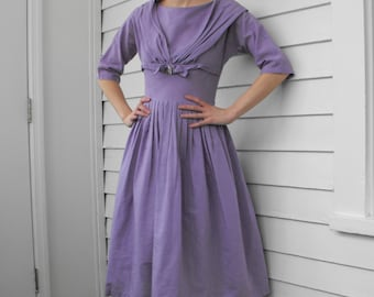 Lavender Spring Dress Light Purple Pleated Full Skirt XS 50s 60s Vintage