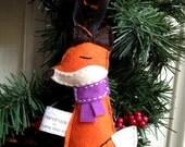 Sleepy Little Fox Handmade Felt Ornament - Purple Scarf