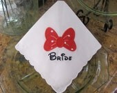 Personalized Bride Disney machine embroidered wedding handkerchief by Sweet Sewing Jeans