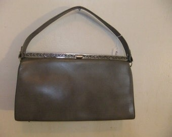 1960's Ladies  Gray Handbag