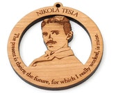 "Nikola Tesla Ornament - Science Mad Scientist Electrical Engineer ""The present is theirs; the future, for which I really worked, is mine"""