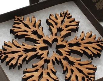Wood Christmas Decoration Laser Cut Hardwood Snowflake Ornament