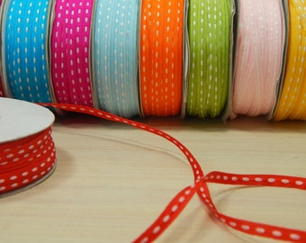 50 Yard Full Reel 3mm Double-Sided Sitched Organza Ribbon in Bright Red