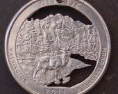Olympic National Park Quarter Hand Cut Coin Jewelry