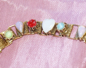 Victorian Revival Book Chain Multi Colored Stone Bracelet
