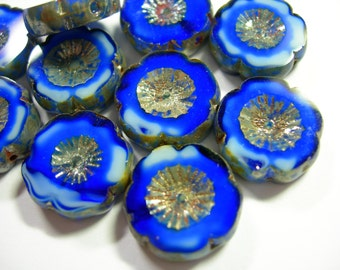 10 beads - Cobalt Blue and White Picasso Czech Glass Flower Beads 14mm