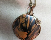 Black Orchid, Exotic Wood Black White Ebony Pendant wire wrap vintage bronze repurposed ecofriendly