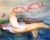 Determined, Loggerhead Sea Turtle 11 x 15 signed numbered fine art archival print by artist, Roxanne Tobaison