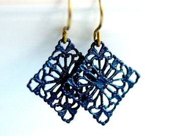 Navy Blue Earrings * Navy Earrings * Painted Earrings * Boho Earrings * Filigree Earrings * Navy Blue * Dark Blue Earrings...*Ravaged Trust*
